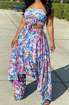 Multi Casual Spandex Ditsy Floral Sleeveless Bandeau Bra Wide Leg Pants Sets OMR9721
