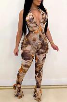 Khaki Sexy Polyester Sleeveless Ruffle Tank Jumpsuit OMY8064