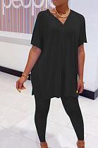 Black Casual Polyester Short Sleeve V Neck Split Hem Tee Top Long Pants Sets SDD9292