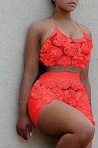 Red Casual Polyester Floral Sleeveless Halterneck Guipure Lace Crop Top Shorts Sets QQM3191