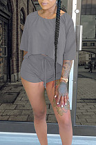 Dark Gray Casual Polyester Pure Color Batwing Sleeve Round Neck Tee Top Shorts Sets QQM4059