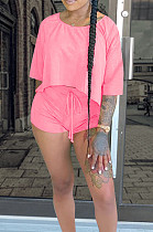 Pink Casual Polyester Pure Color Batwing Sleeve Round Neck Tee Top Shorts Sets QQM4059