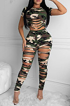 Casual Polyester Camo Short Sleeve Round Neck Ripped Tee Top Long Pants Sets K2004