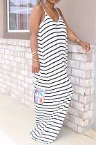 فستان بوليستر مخطط أبيض بدون أكمام ورباط (YM8109)