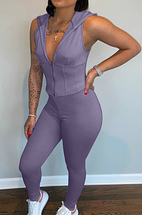 Purple Casual Polyester Zipper Front Sleeveless Hoodie Long Pants Sets LY8101