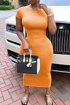 Orange Casual Polyester Short Sleeve Round Neck Mid Waist Long Dress SDD9289