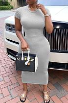 Gray Casual Polyester Short Sleeve Round Neck Mid Waist Long Dress SDD9289