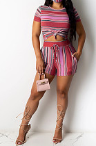 Rose Red Casual Polyester Striped Short Sleeve Round Neck Waist Tie Tee Top Shorts Sets YY5196