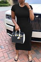 Black Casual Polyester Short Sleeve Round Neck Mid Waist Long Dress SDD9289