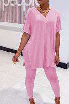 Pink Casual Polyester Short Sleeve V Neck Split Hem Tee Top Long Pants Sets SDD9292