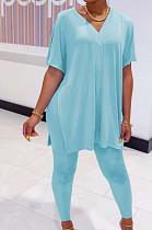 Blue Casual Polyester Short Sleeve V Neck Split Hem Tee Top Long Pants Sets SDD9292