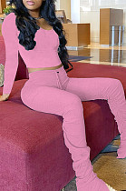 Pink Casual Polyester Long Sleeve Ruffle Tee Top Long Pants Sets LMM8166