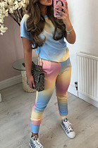 Blue Yellow Casual Cotton Tie Dye Short Sleeve Round Neck Tee Top Long Pants Sets CM758