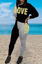 Schwarz Lässig Polyester Letter Langarm Rundhalsausschnitt Gespleißtes T-Shirt Lange Hosen Sets BBN033