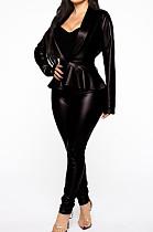 Zwarte casual pu lederen lange mouwen volant utility blouse lange broek sets BBN026