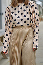 Apricot Casual Polyester Polka Dot Long Sleeve Round Neck Spliced Tee Top BBN027