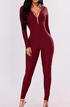 Vermelho Casual poliéster listrado manga comprida Bodycon Jumpsuit BBN028