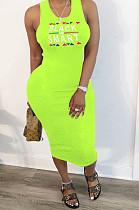 Fluorescent Green Casual Polyester Letter Sleeveless Round Neck Ruffle Mid Waist Tank Dress BBN055