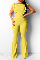 Yellow Casual Polyester Sleeveless Round Neck Backless Bodycon Jumpsuit BBN051