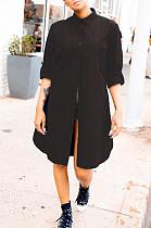 Black Casual Polyester Long Sleeve Buttoned Shirt Dress BBN023