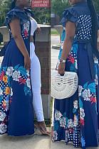 Blau lässig Polyester Blumen ärmellose Volant hohe Taille A Linie Kleid OMY8057