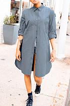 Gray Casual Polyester Long Sleeve Buttoned Shirt Dress BBN023