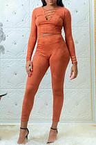 Oranje casual polyester lange mouw T-shirt lange broek sets BBN025
