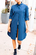 Blue Casual Polyester Long Sleeve Buttoned Shirt Dress BBN023