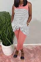 Pink Casual Polyester Striped Sleeveless Round Neck Tank Top Long Pants Sets AMM8218