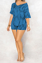 Blue Casual Polyester Short Sleeve V Neck Tee Top Shorts Sets C3010