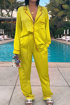 Yellow Casual Polyester Long Sleeve Utility Blouse Long Pants Sets ZS0284