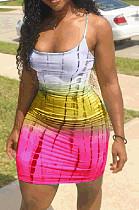 Розовое сексуальное мини-платье в полоску без рукавов с высокой талией AMM8025
