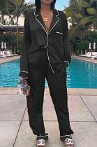 Black Casual Polyester Long Sleeve Utility Blouse Long Pants Sets ZS0284