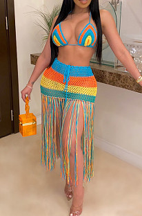 Sexy Polyester Striped Sleeveless Halterneck Hollow Out Tassel Hem Two Pieces Swimsuits ZS074