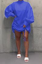 Синее повседневное платье-рубашка из полиэстра с длинными рукавами и длинными рукавами C3009