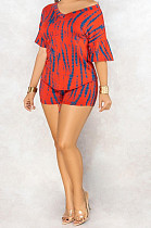 Red Casual Polyester Short Sleeve V Neck Tee Top Shorts Sets C3010