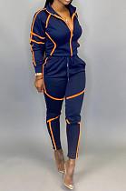 Navy Blue Sporty Polyester Long Sleeve Spliced Utility Blouse Long Pants Sets KZ145