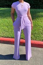 Фиолетовый Повседневный Полиэстер с коротким рукавом и круглым вырезом с завязками спереди Комбинезон N9213