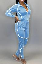 Light Blue Sporty Polyester Long Sleeve Spliced Utility Blouse Long Pants Sets KZ145