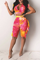 Rose Red Yellow Sexy Polyester Tie Dye Sleeveless Utility Blouse Shorts Sets ZS0294