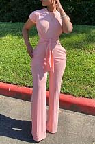Розовый Повседневный Полиэстер С Коротким Рукавом Шею Tie Front Комбинезон N9213