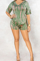 Green Casual Polyester Short Sleeve V Neck Tee Top Shorts Sets C3010