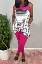 Rose Red Casual Polyester Striped Sleeveless Round Neck Tank Top Long Pants Sets AMM8218