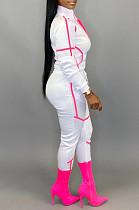 White Sporty Polyester Long Sleeve Spliced Utility Blouse Long Pants Sets KZ145