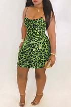 Зеленое сексуальное мини-платье без рукавов с высокой талией в полоску AMM8025