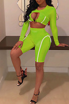Fluorescent Green Sexy Polyester Long Sleeve Round Neck Utility Blouse Shorts Sets AMM8147