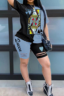 Black blue Casual Polyester Short Sleeve Round Neck Tee Top Shorts Sets AMM8241