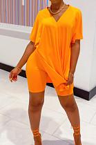 البرتقال عارضة البوليستر كم قصير الخامس الرقبة سبليت هيم المحملة الأعلى السراويل مجموعات WY6678