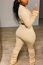 Khaki Sexy Polyester Pure Color Long Sleeve V Neck Ruffle Crop Top Pants Sets LY5848
