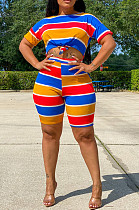 Blue Yellow Orange Casual Cotton Striped Short Sleeve Round Neck Tee Top Shorts Sets JLX6870